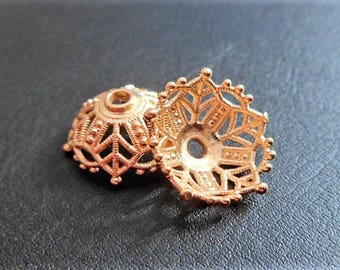 Large bead cap in flower in gold plated
