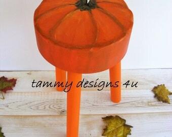 Pumpkin Decor,  Plant Stand, Fall Decor, Low End Table, Low side Table, Porch Stand, Pumpkin Plant Stand, Autumn Decor