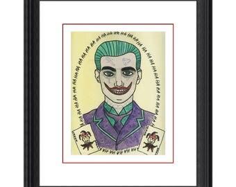 Joker Original Art Print - DC comics Batman & Suicide Squad villain painted in old school tattoo style comic book inspired art print.
