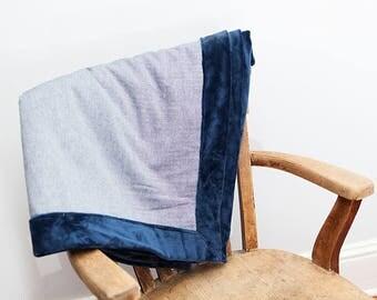 Minky Throw Blanket, Blue, Throw Blanket, Blue Throw Blanket, Blue Decor, Gift for Him. Lightweight Blanket,