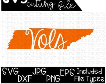 Tennessee Vols SVG File, Tennessee, State Home, Rocky Top, Vols, Tennessee Volunteers, Cutting File, Silhouette, Cricut, PNG, DXF