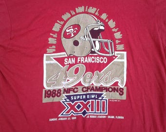 Vintage 80's / 1988 San Francisco 49ers 1988 NFL Champions Super Bowl XXIII Screen Stars butter thin t-shirt Large Made in USA