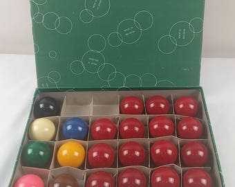 "Vintage Set 22 ARAMITH Belgian English Snooker Balls 2"" 15 Red 7 Different color"