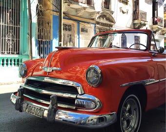 Red Car in Havana, Havana photo print, Cuba photo print, Old Havana, Vintage car photo, Black and White Photography, Photo Print