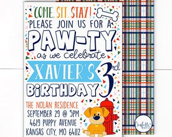 Puppy Dog Invitation - Dog Invitation - Puppy Invite- Dog Invite - Puppy Birthday Party - Dog Birthday Party - Puppy Pawty - Come Sit Stay