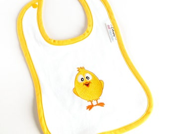Baby BIB with a yellow chick embroidered - Perfect gift for a baby shower - Baby boy & baby girl BIB - Triple layer BIB