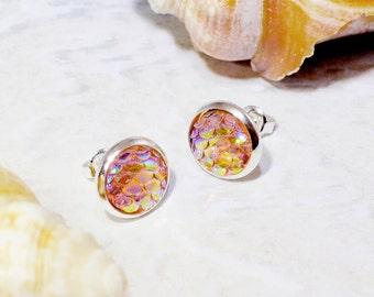 Mermaid earrings, dragon scale earrings, fish scale earrings, orange mermaid, mermaid stud earrings