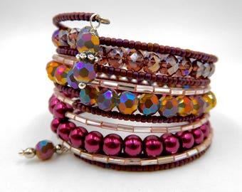 Purple memory wire bracelet, memory wire wrap bracelet, purple beaded bracelet, beaded wrap bracelet, crystal bracelet, cuff bracelet