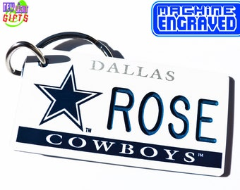 Personalized Dallas Cowboys Keychain Tag - Vintage - Machine Engraved - Fan Souvenir - Football Coach Gift - Official Licensed NFL Key Ring