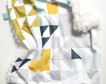 Baby Blanket, Lovey Blanket, Baby Boy Blanket, Geometric Baby Bedding, Baby Boy Bedding, Gender Neutral Baby Bedding, Lovey, Gender Neutral