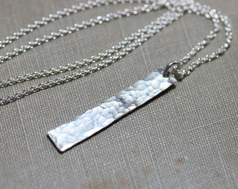 Sterling Silver Bar Necklace Hammered Silver Rustic Jewelry Textured Metal