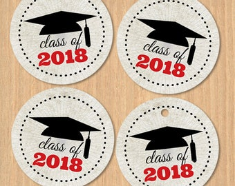 "Printable Class of 2018 Graduation Cap 1.5"" Images - Red, Instant Download JPG for envelope seals, stickers, tags, buttons, cupcake toppers"