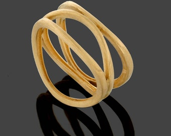 Unique Wedding band, 14K Yellow Gold ring, Minimalist Wired Gold ring, women anniversary gift, Rough Ring, Simple Stack Ring, Layer Ring