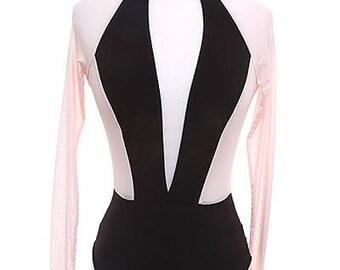 High Neck Long Sleeve Open Front Mesh and Knit Bodysuit/Custom Large Open Front Women Knit Bodysuit