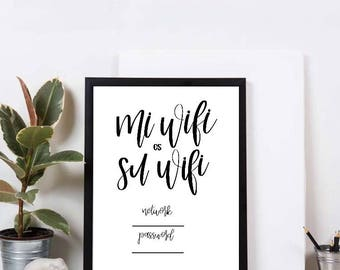 Wifi password digital print | Calligraphy Printable | Wifi Password Printable | Digital Print | Guest Wifi | Guest Room Sign | Wedding Wifi