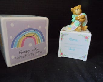 "Hallmark ""My First Bank"" Every Day Is Somethiing New;  Music Box Alphabet Block Spot for Baby's Name and Date of Birth Rock a Bye Baby1543"