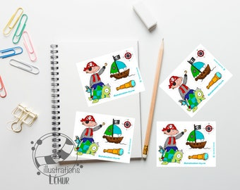 Small reusable repositionable stickers PIRATE long view, boat, miniature wall art, gifts, birthday, anniversary, baby shower