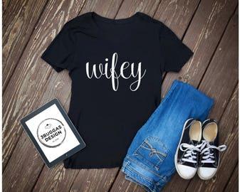 Wifey, Newlywed wife shirts, wifey t shirt, hubby wifey AF honeymoon shirt, just married wife shirt, wifey top, wifey vneck, gift for bride