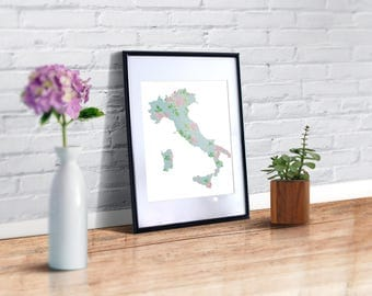 Italy map  cross stitch pattern, Modern floral silhouette pattern PDF, Flowers Italy cross stitch pattern