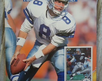 Dallas Cowboys - Troy Aikman - 1991 - Dallas Cowboys gift - Cowboys football - Troy Aikman gift - Vintage magazine - Sports gift - Football
