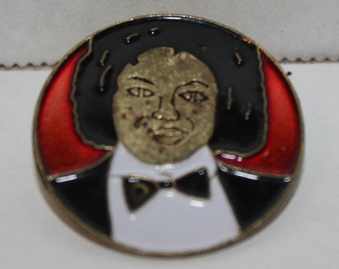 Vintage Michael Jackson Portrait Enamel Square Pinback button pin hat lapel