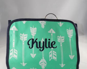 Monogrammed Cosmetic Bags, Personalized Cosmetic Bags, Monogrammed Arrow Cosmetic bag, Personalized Arrow Cosmetic Bag, Hanging Cosmetic Bag