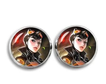 Cat Woman Earrings 12 mm Cat Woman Stud earrings Comic Earrings Fandom Jewelry Cosplay Fangirl Fanboy