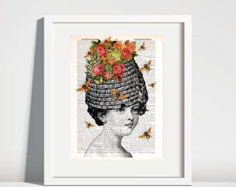 BEE ART Print Flower Art Dictionary Honey Bee Wall Decor Beauty Salon