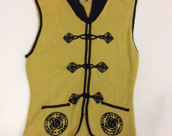 Vintage Mustard and Black Sweater Vest Size 8 or Small - Medium | Anna Cosplay