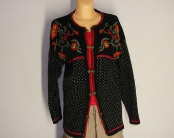 Wool cardigan  by Intense Scandinavian Folk Sweater Nordic pattern size M/L (38/40)