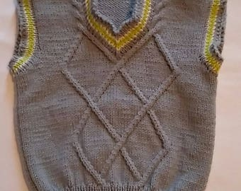 Back to school boy, knitted boy vest, knitted baby vest, baby boy outfit, gray boy clothes, baby clothes, baby shower gift, new baby outfit