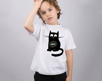 Cat Shirt for Kids Animal Shirt Cat Digests Fish Boys Tee Shirt Kids Funny T Shirt Youth Design Tee Toddlers Cute Shirt Graphic PA1091