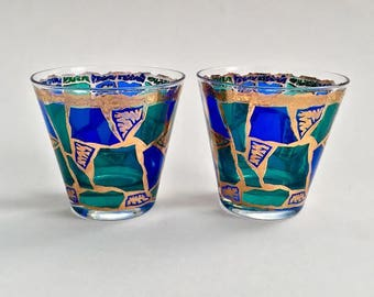 SET 2 Vintage 60s Cocktail Glasses - Europa by Georges Briard - MCM Retro Mid Century Modern Barware - Blue Green Gold Stained Glass Motif
