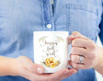 Happy Fall Yall | Mug | Happy Fall Yall | Cute Mug | Gift for Her | Teacher Gift | Gift for Best Friend | Fall Lover | Southern | Coffee Mug