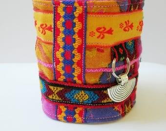 Fabric bracelet. Cuff bracelet. Multicolor-mother's day-folk. BOHO