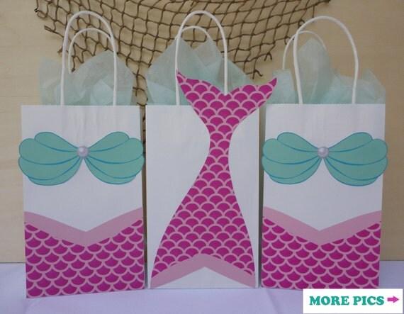 Mermaid Party Favor Bags/ Mermaid Birthday Party/ Supplies/