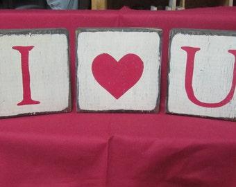 I Heart You Shelf Sitter Set,  Valentine's Decor, Love Photo Prop, Rustic Valentine's Day Decor, Distressed Love Wood Block Set, I Love You