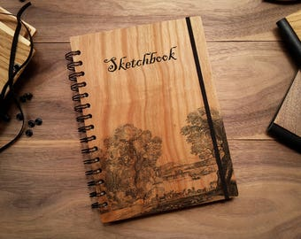Wooden Notebook, Wood Notebook, Custom Notebook, Wooden Sketchbook, Personalized Notebook, Personalized Gift