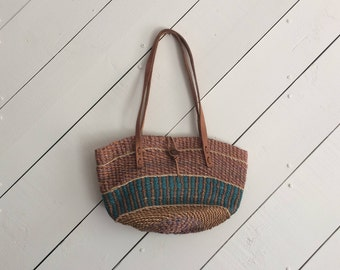 Vintage Sisal Woven Shoulder Bag, Woven Market Bag with Leather Straps and Button Closure