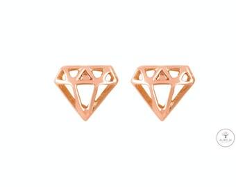 "Rosé gold ""Diamond"" Stud Earrings"