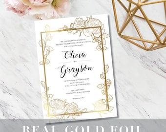 Floral Sketch Wedding Invitation // Minimalist Modern // Real Gold Foil // Beautiful // Elegant // Glamour // Minimal // Classy // Chic