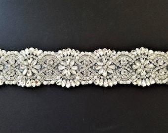 Wedding Belt, Bridal Sash Belt - Crystal Pearl Wedding Sash Belt = 18 INCH LONG