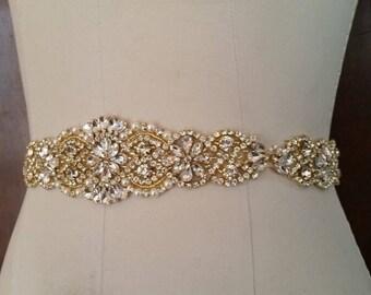 Wedding Belt, Bridal Sash Belt - GOLD Crystal Pearl Wedding Sash Belt