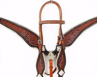 Basket tooled Scalloped Western Silver Show Leather Trail Barrel Racing Racer Bridle Headstall Breast Collar Tack Set