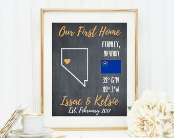 Our First Home, New Home Housewarming Gift, House Warming gift, Our First Apartment, Real Estate Gift, Home Coordinates Sign, Address Sign
