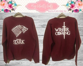 Game of Thrones Inspired Sweatshirt House Stark/Winter is Coming