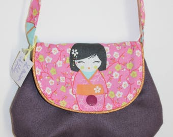 Chic bag for girl Eggplant with Japanese doll