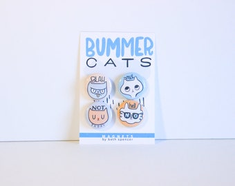 Funny Cat Magnets / Cat Magnets / Cute Cat Magnets  / Fridge Magnets / Quirky Cat Magnets / Humorous Magnets / Silly Cat Magnets / Cat Gifts