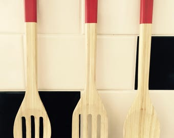 Organic Bamboo Kitchen Spoons - hand painted
