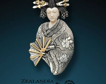 Fan Geisha - Hand Carved Bone, Sterling Silver Pin/Pendant